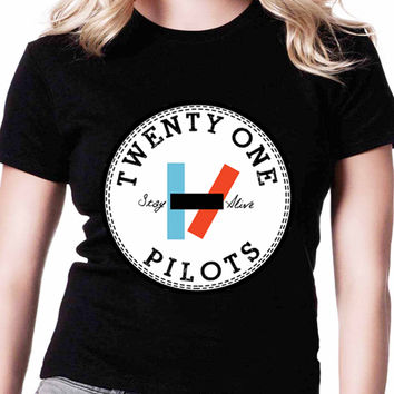 Twenty One Pilots Logo If Womens T Shirts Black And White