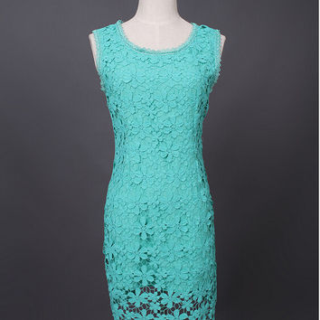 Sleeveless Lace Cutout Pencil Dress