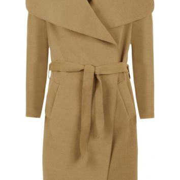 Zena Open Belted Oversized Waterfall Coat