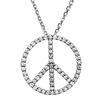 1/3 Carat Diamond Peace Sign Necklace in Platinum