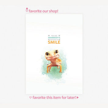 "Leopard Gecko Animal Art Print ""Life is still worth while if you just smile"" - 4 Sizes Available"