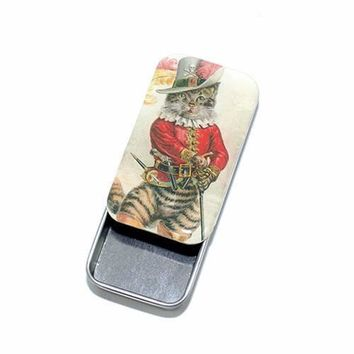Dapper Cat Tin, Pill Box, Treasure box, Pill Box, Treasure Box, Jewelry box, Card Case - Large
