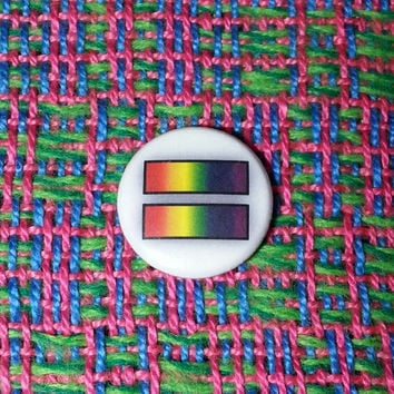 Rainbow Equal Sign LGBT Button or Magnet