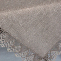 "Linen Tablecloth Burlap Checked Square Prewashed Natural Gray Linen Lace 57"" x 57"""