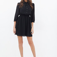 LOVE 21 Tie-Neck Chiffon Shirtdress Black