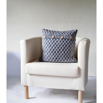 Knitted gray cushion cover with wool size 16x16 inch for cozy home decor