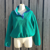 Vtg L.L. Bean Polartec Womens S/M Gree Fleece T-Snap Pullover Jacket Sweater USA Made