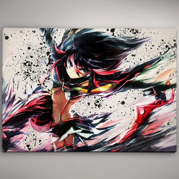 Ryuko Kill La Kill Anime Manga Watercolor Print Poster No714