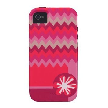 Pink Chevron in the Garden Case-Mate iPhone 4 Cover from Zazzle.com