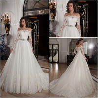 Off Shoulder Lace Long Sleeve Ball Gown Wedding Dress