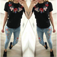 Short Sleeve Tops Summer Style Hot Sale Floral Round-neck Slim Women's Fashion T-shirts [11735841999]