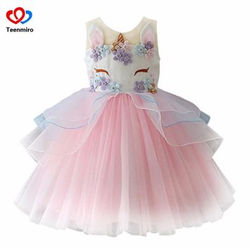 2018 Unicorn Dress for Girls Kids Princess Dresses for Wedding Party Children Clothing Embroidery Ball Gown Robe Fille Cosplay