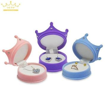 ac spbest Crown Velvet Ring Display Box Ear Stud Necklace Jewelry Case Container Wedding Ring Gift Case Earrings Storage