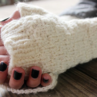 Wool Fingerless Gloves for Her, Knit Fingerless Gloves, Long Wool Gloves, Warm Gloves Gift, Gloves Hand Knit, White Wool Gloves