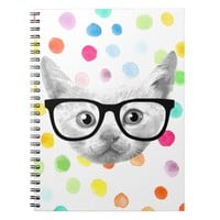 cute nerdy hipster cat on watercolor dots pattern spiral notebook