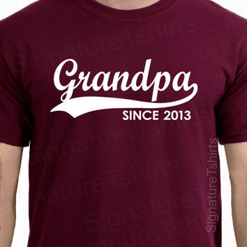GRANDPA Since Mens 2013 T-Shirt tshirt Personalized with Any Year Granddad to be shirt Father's Day Gift baby S-3XL