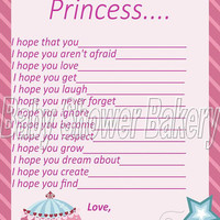 Wishes for Baby, Princess Baby Shower Game, Baby Shower Game for Girl, Princess Baby Shower Printable