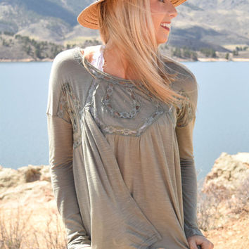Edelweiss Crochet Detail Top Olive