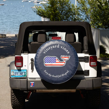 Flag Whale Tire Cover
