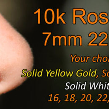 10k Extra Small Solid Rose Gold Nose Ring/Hoop Earring 24 Gauge 7mm Inner Diameter Endless/Seamless/Cartilage/Tragus/Helix