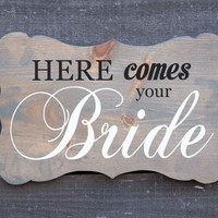Wedding bracket shape romantic wood sign wall art. Here Comes the Bride, Fairy Tale, Vintage, Flower Girl, Rustic Country Chic, Farm Wedding