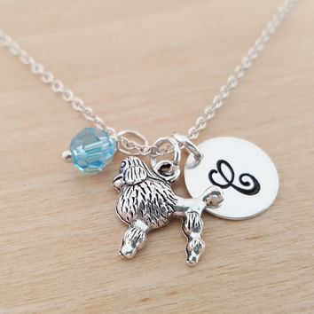 Poodle Necklace -Dog Owner Necklace - Initial Necklace - Personalized Necklace - Sterling Silver Jewelry - Gift for Her