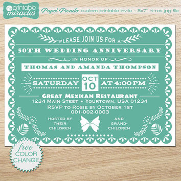 picture regarding Papel Picado Printable named Papel picado invitation,teal marriage ceremony anniversary invitation, Mexican fiesta invite card / personalized electronic printable report