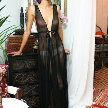 Gossamer Spun Mesh Black lace Nightgown Black Lingerie Bridal Wedding Honeymoon Sleepwear