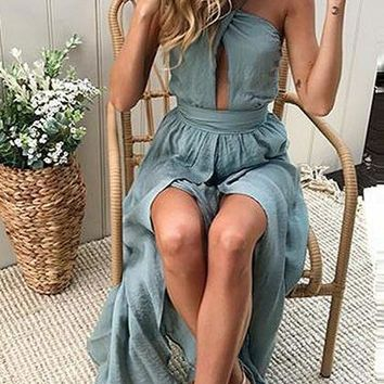 Blue Cut Out Backless Split Maxi Dress