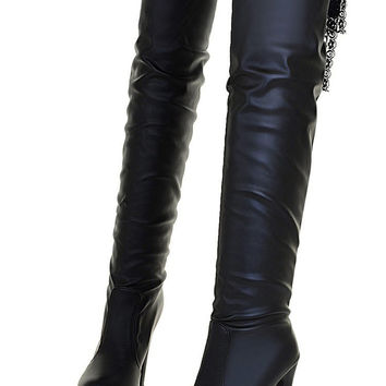 Woman High heels boots Suede Over The Knee Boots Winter Warm Boots Women Sexy Stiletto Slim Fit Stretch Booties Botas Mujer
