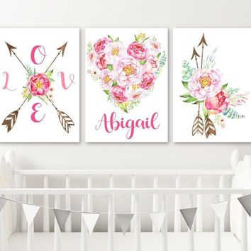BOHO WATERCOLOR Floral Wall Art, Watercolor Flower Boho Nursery Decor, Girl Name Nursery Decor, Floral Heart Love Set of 3 Canvas or Print