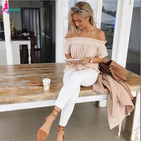 Sexy Slash Neck Ruffles Women Tops Tees Off Shoulder Beach Summer Style Tops Women Shirt Party Tube Top