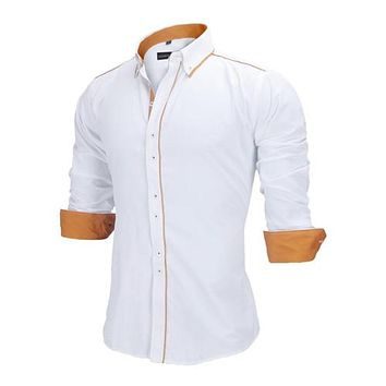 European Size Shirt 100% Cotton Slim Business Casual Clothing Long Sleeve Chemise N356