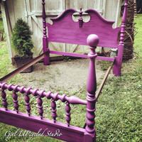 Custom furniture, painted furniture, bed, hand painted, before and after photos