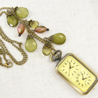 Watch Necklace, Green Bead Watch Pendant Necklace Long Brass Jewelry