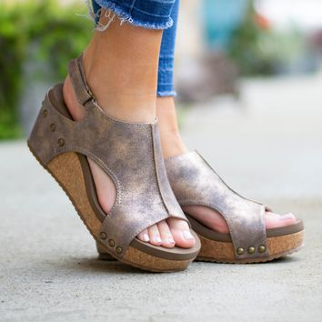 London Distressed Bronze Wedges