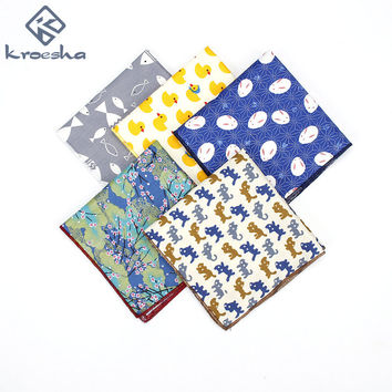 2017 Brand New Men Suit Cotton Vintage Cat Fish Printed Pocket Square Hanky For Men Fashion Floral Handkerchief Hankies 25*25cm