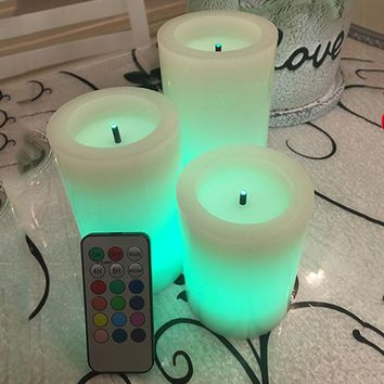 Fiber optic LED electronic candle light RGB remote contro