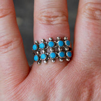 Vintage Turquoise Ring 925 Sterling Silver Petit Point Southwest Native American Size 8 1960's // Vintage Sterling Silver Jewelry