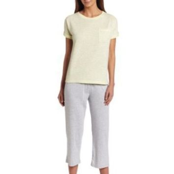 Dearfoams Women's Short Sleeve Tee and Capri Pajama
