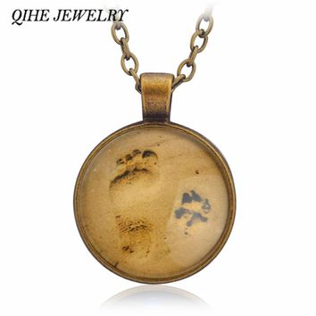 QIHE JEWELRY Bronze Black Silver Color Paw And Footprint Forever Friends Pendant Glass Cabochon Necklace Pet Cat Dog Jewelry