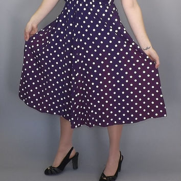 Size 16 Large Vintage 80s does 50s Purple White Polka Dot My Michelle Tank Day Dress 60s Picnic Sun dress Tea Dress Pin Up Girl Rockabilly