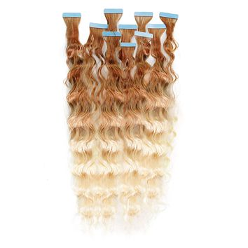 Curly Ombré Tape-In Hair Extensions - Light Golden Brown (#12) to Platinum Blonde (#613)
