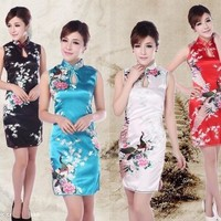 Dress vintage flower printed Qipao Cheongsam Chinese traditional dress