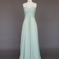 Custom Made Light Green A-line Sweetheart Sweep Train Long Prom Dress/Bridesmaid Dress/Formal Dress/Party Dress