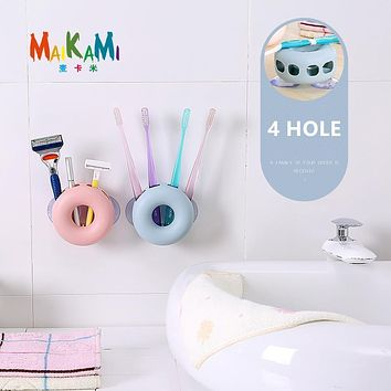 Suction Hooks 4 Position Tooth Brush Holder Bathroom Sets Cute Donuts Sucker Toothbrush Holder
