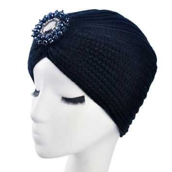 Metal Jewel Soft Knit Crochet Headwrap
