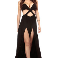 Black Side Slit Cross Cut Jumpsuit