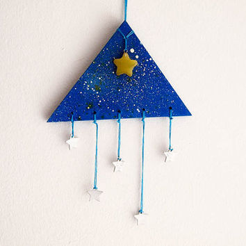 Universe Triangle Mobile - Stars above us - With Blue Painted Stellar Sky and Small White, Yellow Stars - Boho Home Decor, Nursery Mobile