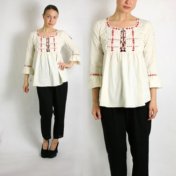 Vintage 90's Ivory White with Red Floral Embroidery Empire Waist Three Quarter Peasant Blouse - Small to Medium